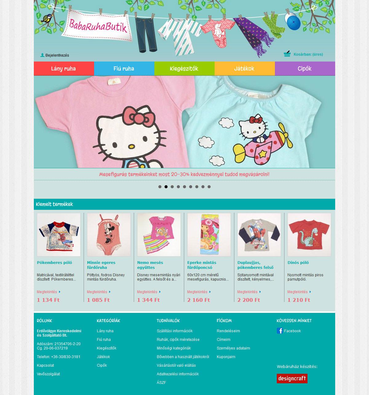 Webáruház készítés Babaruhabutik