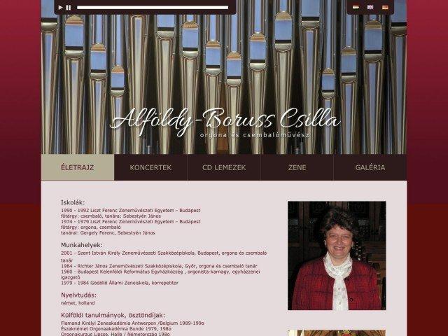 Web design, Weboldalkészítés: Alföldy-Boruss Csilla orgonaművész