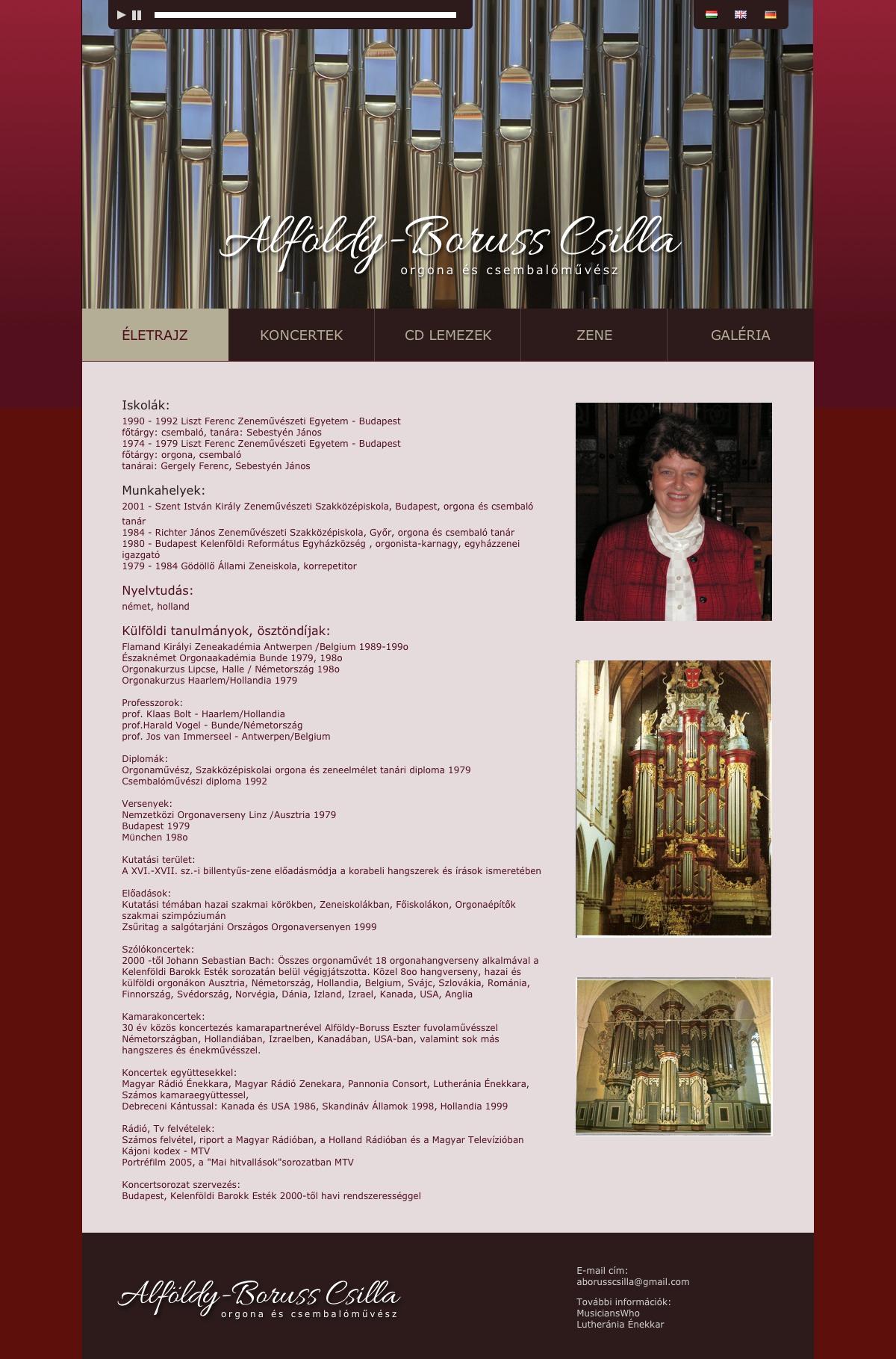 Weboldalkészítés: Alföldy-Boruss Csilla orgonaművész