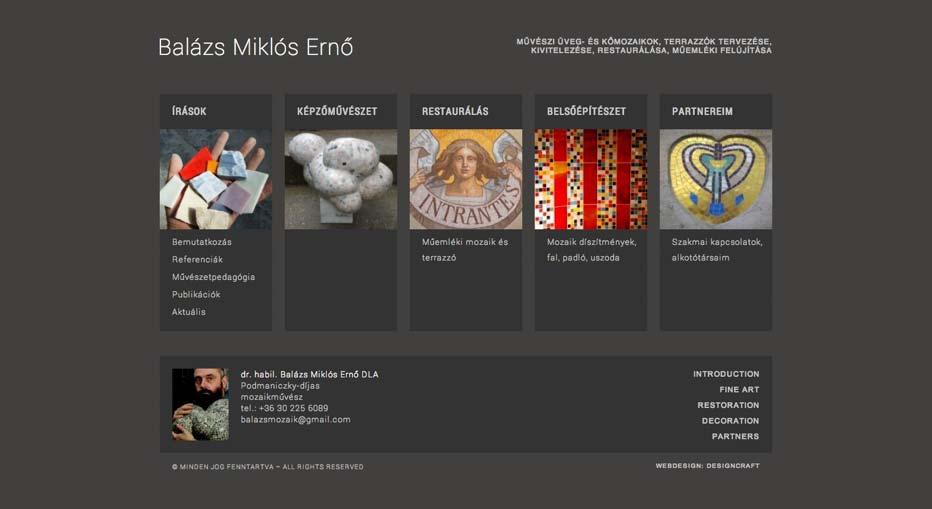Weboldalkészítés Balázs Miklós Ernő mozaikművész