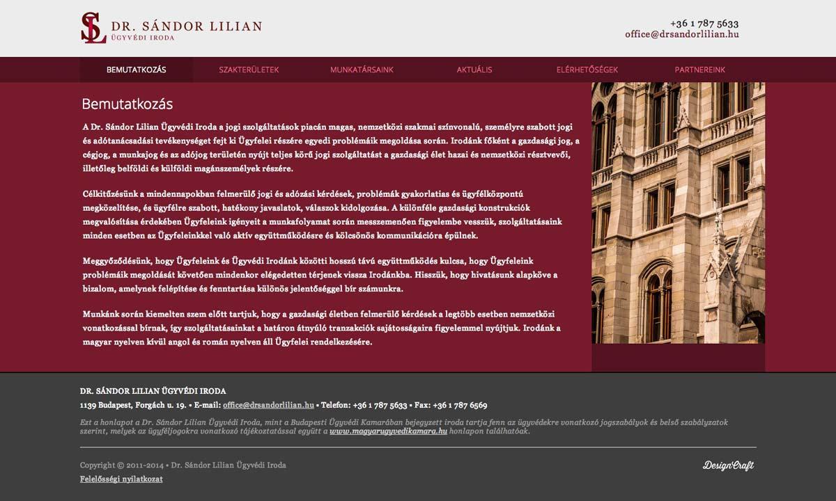 Weboldalkészítés Dr. Sándor Lilian ügyvédi iroda