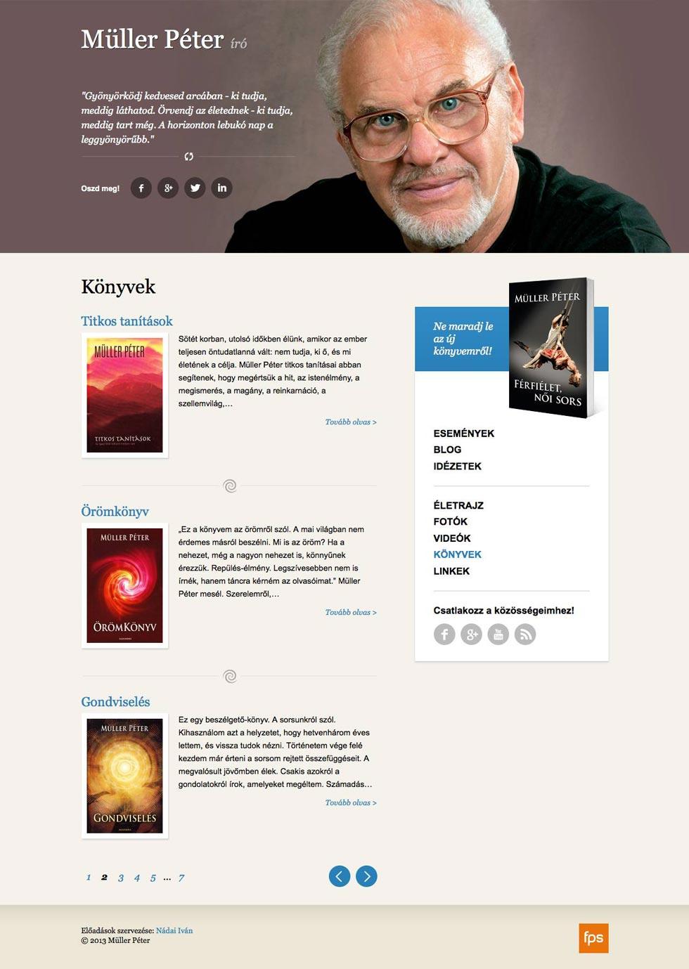 Weboldalkészítés Müller Péter író