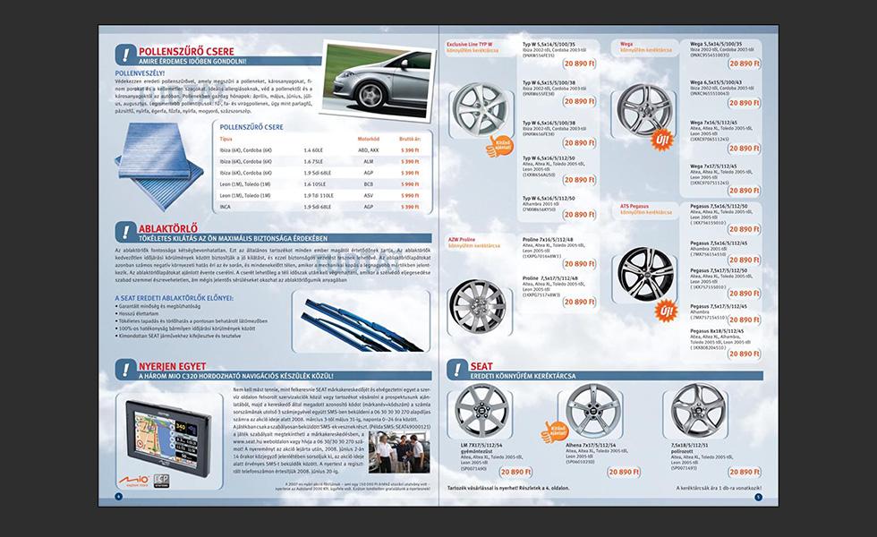 Szerviz katalógus tervezés: SEAT