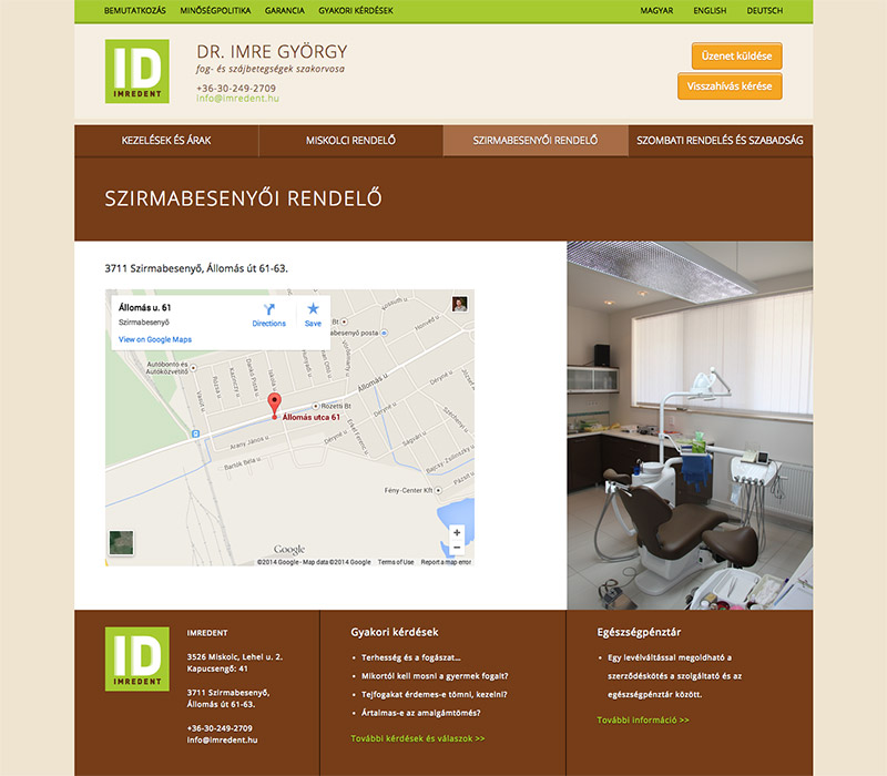 WordPress webdesign - Imredent