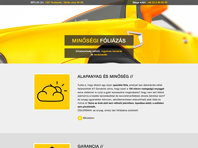 Web design, Weboldaltervezés: Béflex Kft. taxi sárgítás