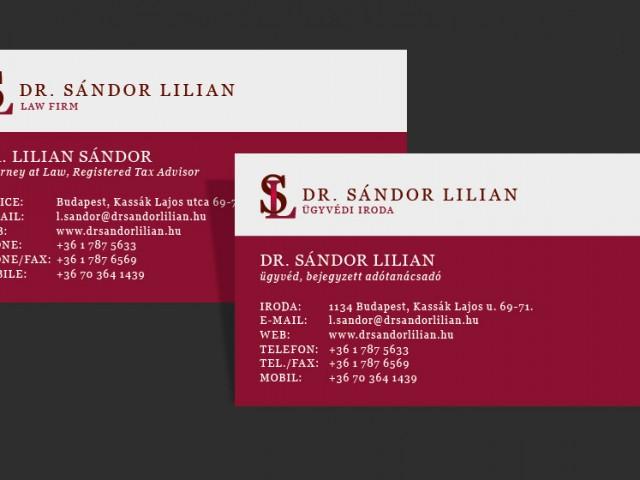 Névjegykártya tervezés Dr. Sándor Lilian ügyvédi iroda