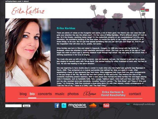 Weboldalkészítés Kertész Erika jazzénekesnő