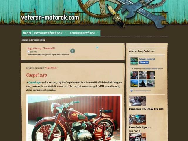 veteran-motorok weboldal készítés
