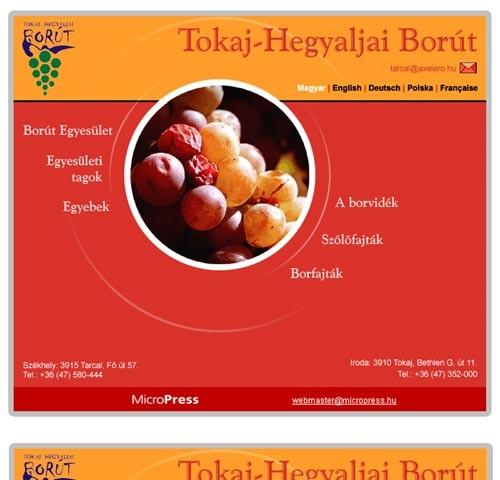 Tokaj-Hegyaljai Borút microsite weboldalkészítés